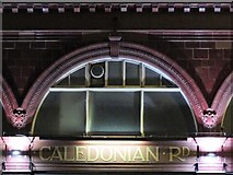 TQ3084 : Caledonian Road tube station, Caledonian Road, N7 - detail (at night) by Mike Quinn