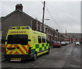 SS8690 : Yellow ambulance in Turberville Street, Maesteg by Jaggery