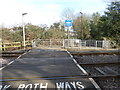 TQ2569 : Foot crossing over Tramlink by Marathon