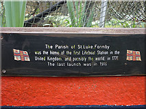 SD2806 : Plaque on Lifeboat Station memorial, St Luke's Church, Formby by Karl and Ali