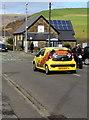 SS8688 : Yellow Buzz Sweets car, Bridgend Road, Llangynwyd by Jaggery