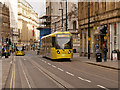SJ8398 : Trams on Cross Street, Metrolink Second City Crossing by David Dixon