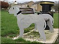 NZ2681 : Bedlington Terrier bench, Bedlington by Graham Robson