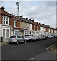 SZ6699 : Cars, houses and floodlights, Carisbrooke Road, Portsmouth by Jaggery