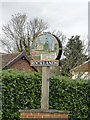 TL9997 : Rocklands village sign, detail by Adrian S Pye