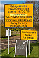 TQ2246 : Signs for Flanchford Road closure by Ian Capper