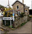 SO5300 : Wooden signpost on a Tintern corner, 2 miles from Catbrook by Jaggery