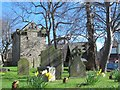 NY9864 : The graveyard of St. Andrew's Church and the Vicar's Pele by Mike Quinn