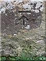 SH3231 : Bench mark on St Pedrog's church, Llanbedrog by John S Turner