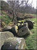 SK2479 : Millstones in Bole Hill Quarry by Graham Hogg
