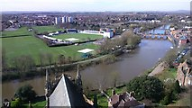 SO8554 : View from the bell tower of Worcester cathedral by Phil Child