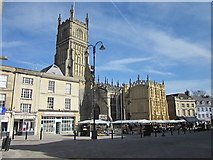 SP0202 : Cirencester Market Place and Church by Roy Hughes