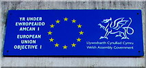 ST0894 : European Union and Welsh Assembly Government plaque, Abercynon by Jaggery