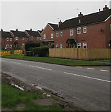 ST2896 : Wooden fence and brick houses, Maendy Way, Cwmbran by Jaggery
