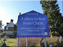 TQ5130 : All Saints, Crowborough: sign by Basher Eyre