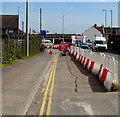 ST3037 : Temporary barrier on the A39 The Drove, Bridgwater by Jaggery