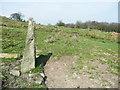 SE0528 : Stone pillar alongside Halifax FP91, Mixenden by Humphrey Bolton