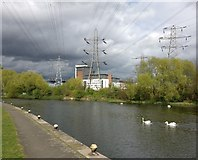 SK5803 : Power lines crossing the River Soar/Grand Union Canal by Mat Fascione