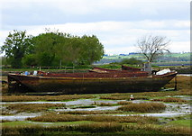 TQ8068 : Wrecked boat in the Medway estuary by Horrid Hill by pam fray
