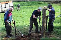 SO2413 : Tamping down! - erecting a gate post, Twyn Wenallt by M J Roscoe