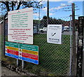 SN9347 : Bilingual notices on the Llangammarch Wells Depot perimeter fence by Jaggery