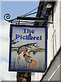 TM0558 : Hanging sign of 'The Pickerel' at Stowmarket by Adrian S Pye