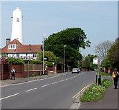 ST3050 : Walkers near Grade II listed High Lighthouse, Burnham-on-Sea by Jaggery