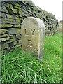 SE1025 : Railway boundary stone, Halifax (Southowram) by Humphrey Bolton