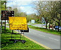 ST3091 : Yellow sign near the northern end of Malpas Road, Newport by Jaggery