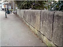 SJ9495 : Manchester Road canal bridge wall. by Gerald England