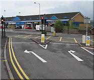ST3090 : White direction arrows at the western end of Pillmawr Road, Malpas, Newport by Jaggery