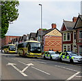 ST3188 : Police cars and football supporters club coaches, Corporation Road, Newport by Jaggery