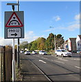 "ST1368 : Warning sign - 12' 9"" headroom bridge 250 yards ahead, Barry by Jaggery"
