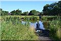 SP2964 : Fishing before breakfast, Kingfisher Pool, Myton Fields, south Warwick by Robin Stott