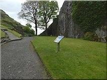 NS3974 : Dumbarton Castle: level space between the peaks by Lairich Rig