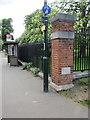 TQ1568 : Barracks Gate pillar and boundary stone by John S Turner