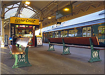 ST1875 : Cardiff Central: refreshments and platform seats by John Sutton