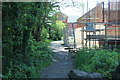ST1588 : Path between stream and construction site, Caerphilly by M J Roscoe