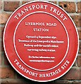 SJ8397 : Liverpool Road Station plaque by Gerald England