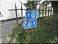 ST5393 : Wales Coast Path signs, Chepstow  by Jaggery