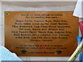 SJ8398 : Plaque on Memorial Sculpture in St Ann's Square by David Dixon