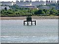 SU4605 : Wooden Beacon in Southampton Water near Fawley Oil Terminal Terminal by David Dixon
