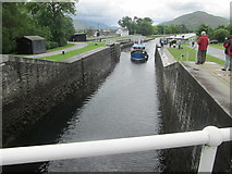 NN1176 : Neptune's Staircase – a boat entering the lower lock by Peter S