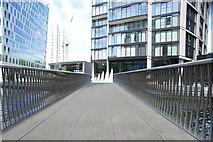 TQ2681 : View along the Fan Bridge in the Paddington Basin Floating Pocket Park by Robert Lamb