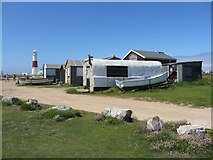 SY6768 : Beach huts near Portland Bill by Gareth James