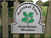 TQ1773 : National Trust sign at Ham House Meadow by Steve Daniels