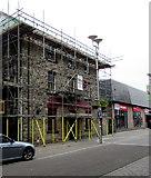 SS9079 : Star under scaffolding in Bridgend town centre by Jaggery