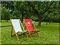 SK4663 : Deck chairs in the orchard by Graham Hogg
