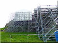 NU1341 : Scaffolding around Lindisfarne Castle by PAUL FARMER