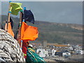SY3391 : Lyme Regis: fishing stuff at The Cobb by Chris Downer